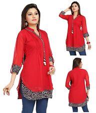 UK STOCK - Women Fashion Indian Short Kurti Tunic Kurta Top Shirt Dress SC1030R