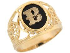 10k or 14k Yellow Gold Onyx Letter B Modern Ladies Filigree Initial Ring