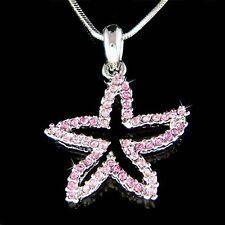 w Swarovski Crystal Pink STARFISH Ocean Star Fish Beach Wedding Pendant Necklace