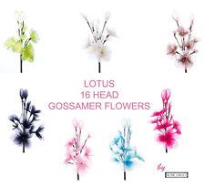 16 Head Gossamer Lotus Flowers Fully Adjustable Beautiful Silk Nylon Display