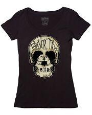 Lucky 13 Forever True Love Skull Gothic Punk Biker Scoop Neck Tee Shirt LW1140FS
