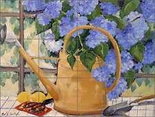 Ceramic Tile Mural Backsplash Walker Hydrangeas Watering Can Floral POV-CWA012