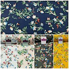 Black Floral Printed Rayon Viscose Poplin dress Fabric 150 cm MA1256 Mtex