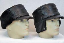 BLACK 100% Sheepskin Shearling Leather Captain Fur Military Winter Men Hat S-3XL