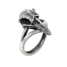 Alchemy Gothic Rabeschadel Klein Odin's Raven Skull Viking Antiqued Pewter Ring