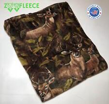 """ZooFleece Brown Deer 60X60"""" Blanket Throw Linen Camouflage Buck Hunting Quilt"""