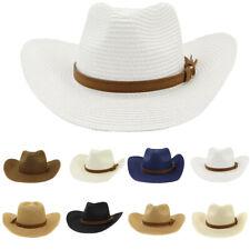 Men Women Straw Cowboy Cowgirl Cap Hat Wide Wild Western Beach Caps Brim Suede