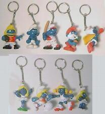 Vintage 1980's Smurf PVC Figure Keychains - Set of 9