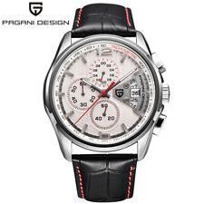 PAGANI DESIGN 50M Water Resistant Genuine Leather Strap Men Quartz Wrist Watch