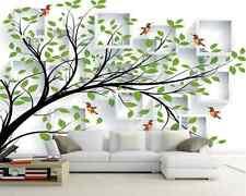 Papel Pintado Mural De Vellón Pájaro Verde Del Arbol 3 Paisaje Fondo De Pantalla