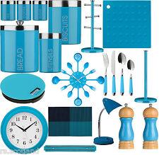 Stockage Cuisine Bleu thé, café, sucre, Couverts Set, Accessoires et horloge
