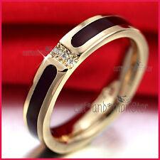 18K ROSE GOLD GF LADY MINIMALIST LAB DIAMOND ETERNITY WEDDING 4MM BAND RING GIFT