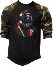 Men's Firefighter Cat Camo Baseball Raglan T Shirt Fireman Fire Dept. EMT ERT
