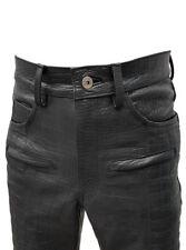 Mens Black Crocodile Print Leather Motorcycle Bikers Jeans Pants Trousers