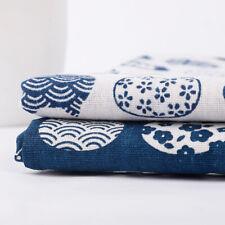 50x150cm Cotton Linen Fabric Cat Print Material Natural Flax Craft DIY Dress