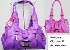 Soft Purple Faux Leather Twin Top Handle Popular Fashion Tote Handbag bnwt