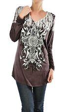 Women Brown Long Sleeve Tie Dye Rhinestone Graphic T Shirt Top Tunic Small