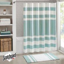 "Luxury Aqua Blue & White Striped Waffle Weave Fabric Shower Curtain - 72"" x 72"""