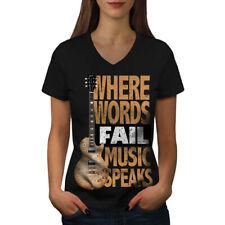 Music Speaks Words Women V-Neck T-shirt NEW   Wellcoda