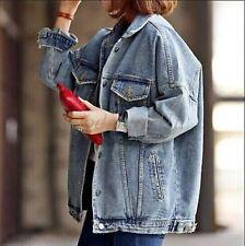 Boyfriend Jeans Coat Retro Oversize Cowboy Woman Denim Loose Casual Jacket JJ33