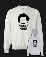 Felpa PLATA O PLOMO Pablo Escobar grigia con e senza cappuccio serie tv Narcos