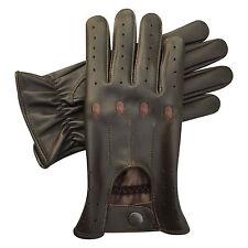 Alta Calidad Lambretta Piel Cuero Hombre guantes de conducción MOTO gloves-brown