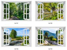 3D WANDBILD FOTOTAPETE FENSTERBLICK Natur Landschaft Wald Garten VLIES oder PVC