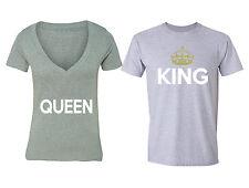 Matching Couple Shirts King Queen Couple Matching Vneck + Crewneck T-shirt S-6X