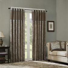 "** Luxurious Blue Taupe Jacquard Paisley Window Panel Curtains Pairs 95"" 84"""