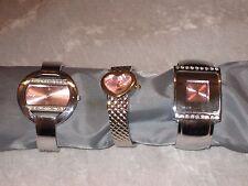 Fashion Bangle Geneva Quartz Watch Pink Face Bracelet Fresh Battery NEW!