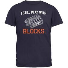 Auto Racing I Still Play With Blocks Navy Adult T-Shirt