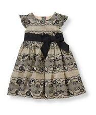 NWT Janie & Jack PRETTY IN PLAID 3 Lace Print Dress Black Cream Cotton Satin