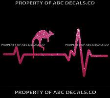HEART BEAT LINE ANIMAL KANGAROO Roo Baby Wallabies Leather CAR METAL DECAL