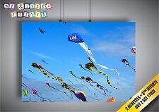 Plakat kite flying Hirsch Volant Sport Wand Kunst