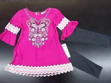 Toddler & Girls Flapdoodles $45 2pc Very Berry Shirt & Leggings Set Sz 2T/2 - 6X