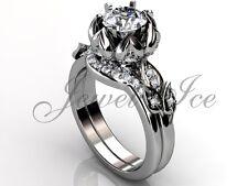 14k White Gold Unique Lotus Moissanite Flower Engagement Ring Set ERMZ-1109-1