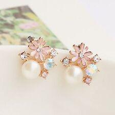 rosa margarita y pendientes con perla blanca w/cristal 60s retro varias opciones