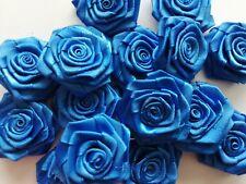 Handmade Royal Blue Satin Ribbon Roses 37mm-40mm Approx Flower Craft Applique