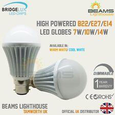 B22 E27 E14 DIMMABLE Bridgelux LED 7W 10W 14W Bayonet WARM/COOL WHITE Bulb Globe