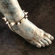 Anklet Metal Studs Spikes Ankle Bracelet Hoti Hemp Handmade Black Natural Beige