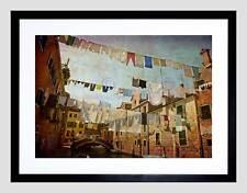 Le linee di abiti VENEZIA Linea Di Lavaggio Lavanderia Framed Art Print PICTURE b12x9446