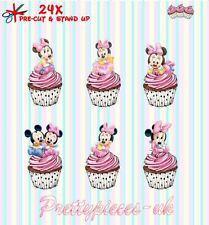 Baby Minnie Mouse 24 Stand-Up Taza de papel de oblea de pre-cortado Cake Toppers