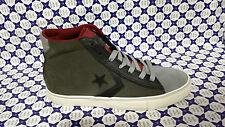 Scarpa Converse Pro Leather Mid Pelle Camoscio 15510C Verde - Grigio