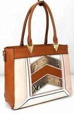 Ladies Girls PU Leather Handbag Shoulder Bag Two Colour Contrast Snake Print Bag