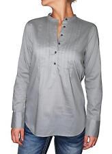 QMack Women`s Blouse Long Sleeve Pleated Split Neck Cotton Shirt, Grey