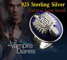 Vampire Diaries Damon 925 Sterling Silver Ring  Salvatore Crest Lapis Lazuil