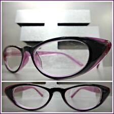 Women Classy Exotic Cat Eye Style Reading Eye Glasses Readers Black Purple Frame