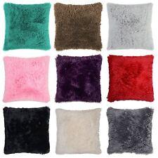 x 4 Shaggy Super Soft Faux Fur Cushion Covers Cuddly 43x43cm in 10 Colours