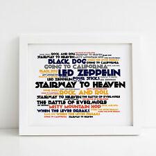 Led Zeppelin Poster Greatest Hits Album Print Lyrics Gift Framed Original Art