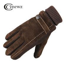 Mens Genuine Leather Pigskin Winter Warm Windproof Non-slip Outdoor Gloves
